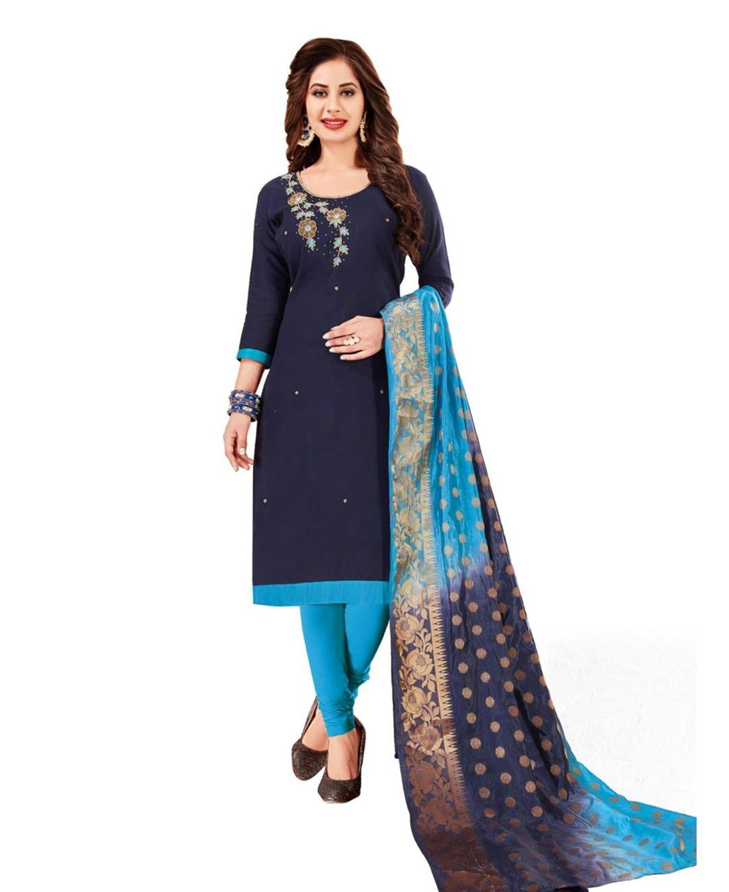 HandWorked Cotton Navyblue Straight Cut Salwar