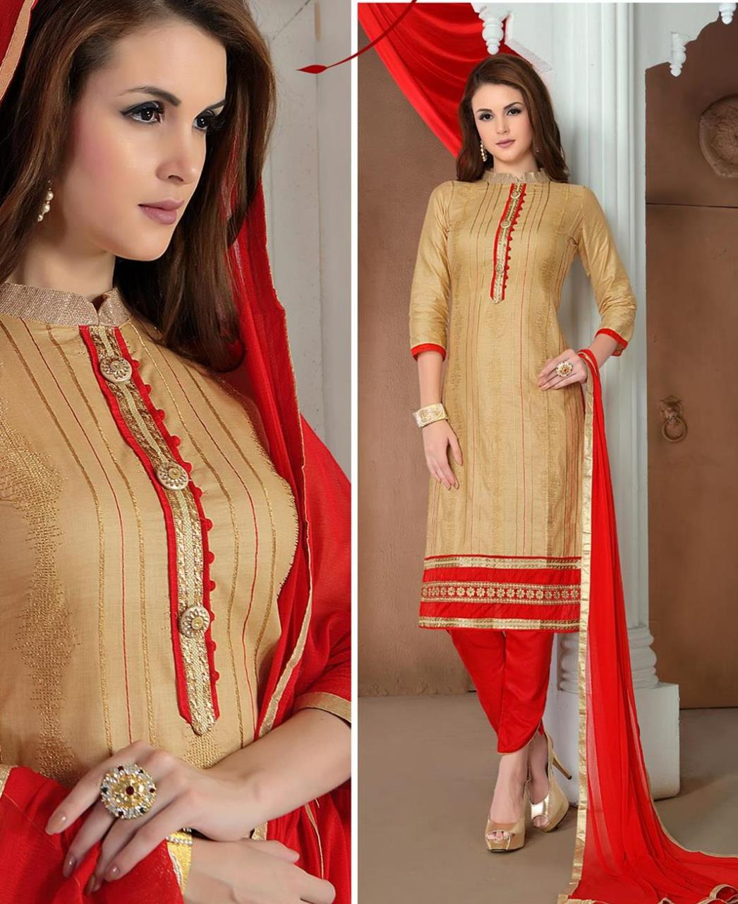 Embroidered Cotton Beige Straight Cut Salwar Kameez