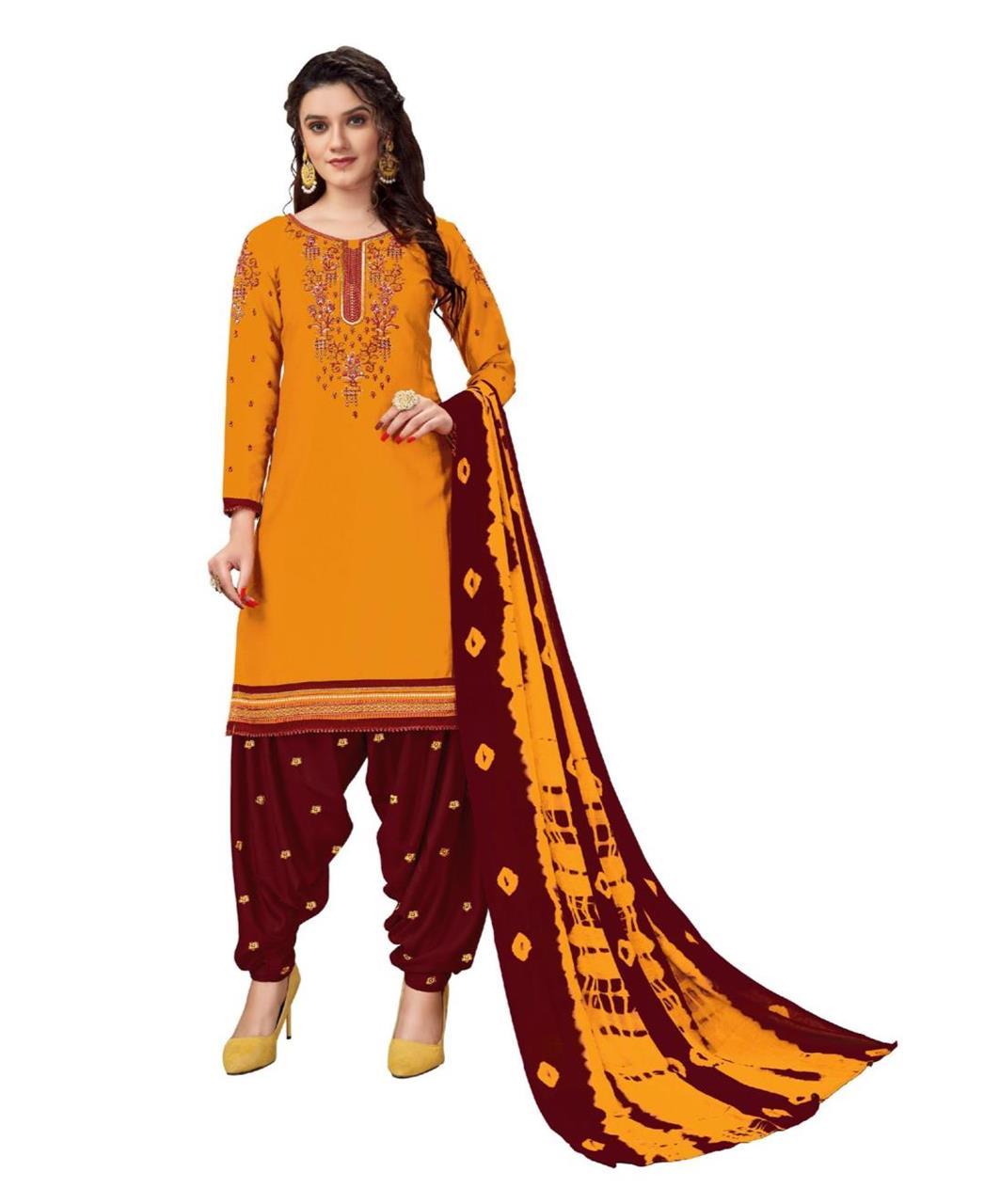 Stone Work Cotton Patiyala Suit Salwar in Yellow