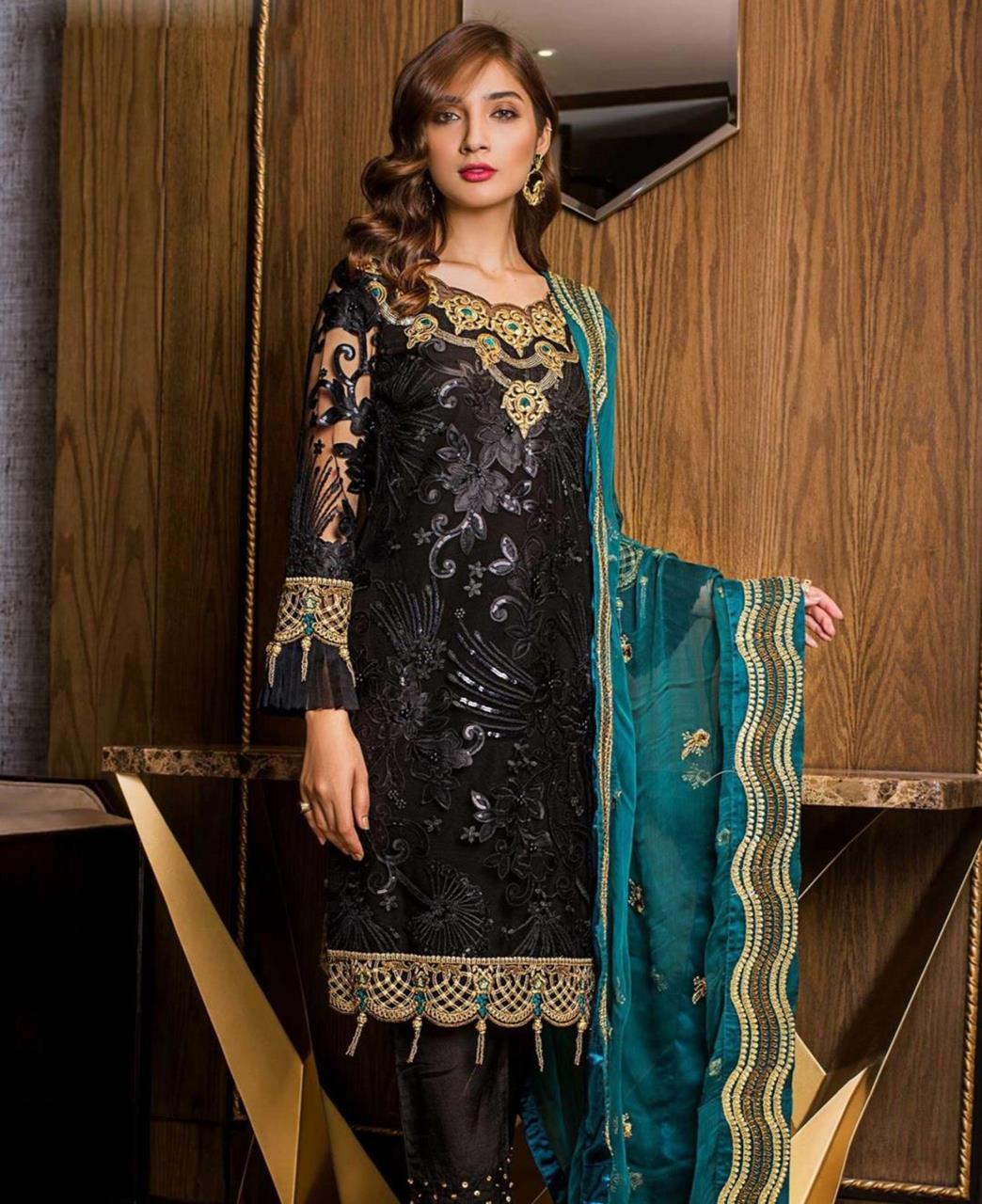 Thread Net Straight cut Salwar Kameez in Black