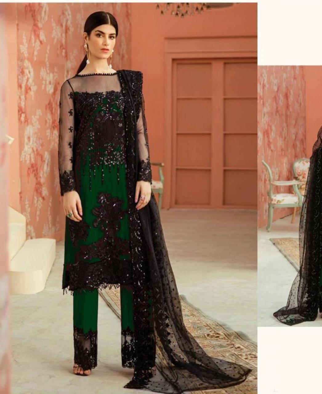 Thread Net Straight cut Salwar Kameez in Green  ,  Black
