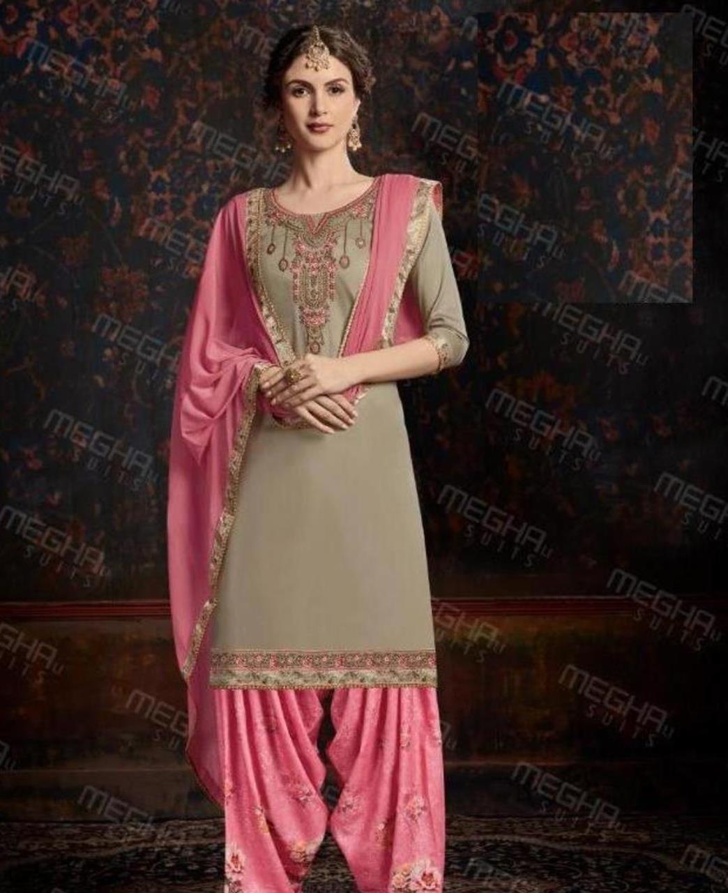 Thread Cotton Straight cut Salwar Kameez in Beige