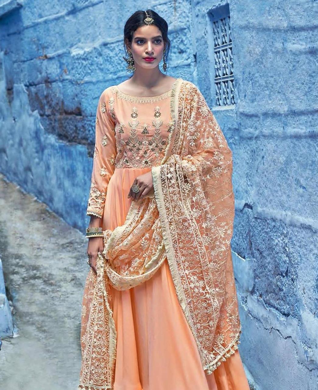 Embroidered Silk Orange Abaya Style Salwar