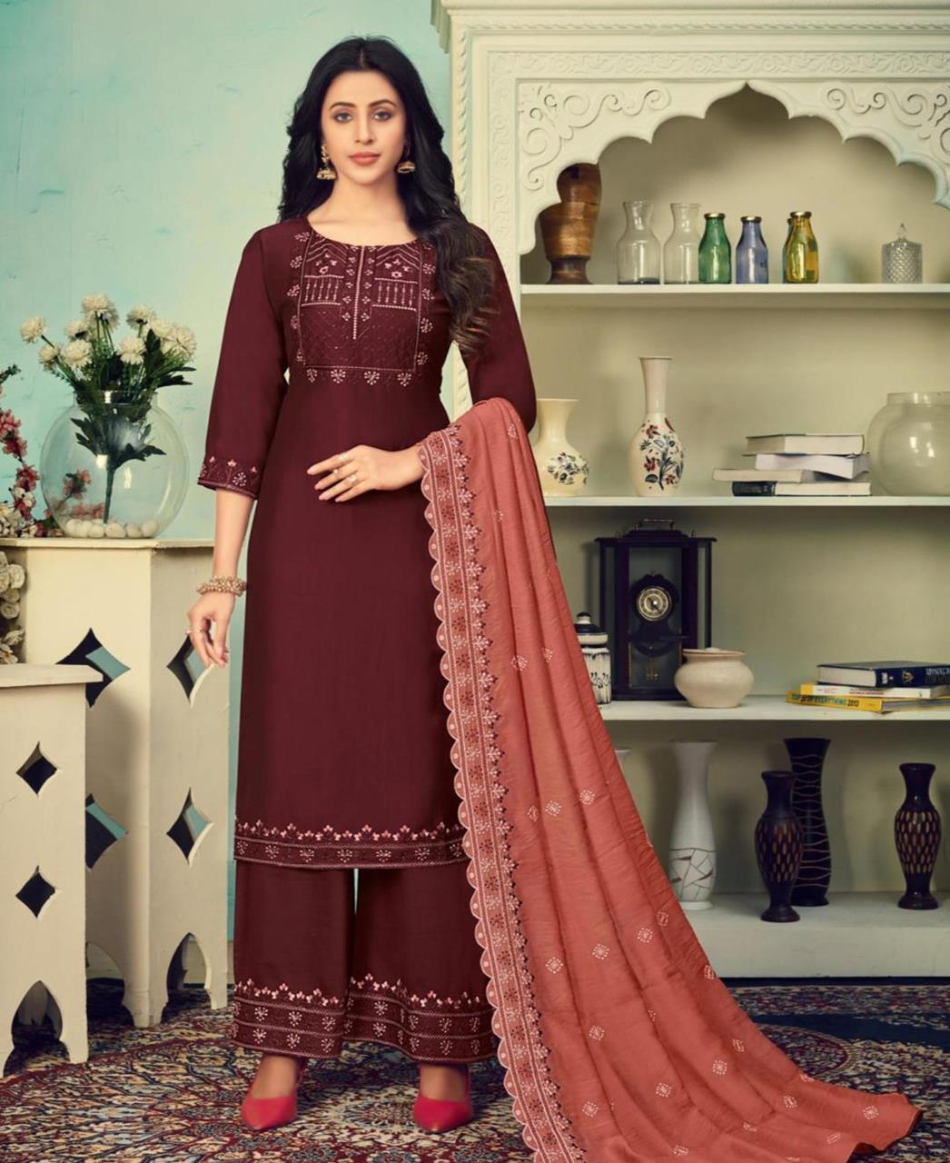 Thread Cotton Straight cut Salwar Kameez in Dark Brown