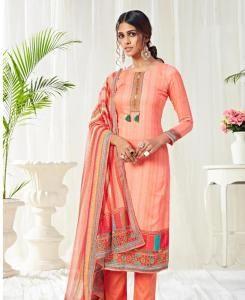 Printed Cotton Straight cut Salwar Kameez in Light Orange