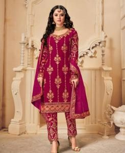Embroidered Georgette Straight cut Salwar Kameez in Rani Pink