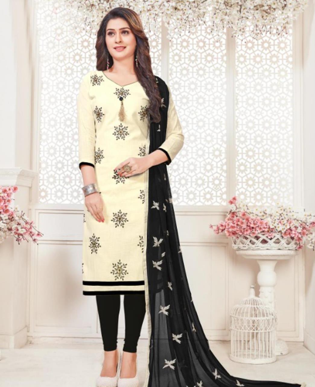Embroidered Cotton Offwhite Straight Cut Salwar Kameez