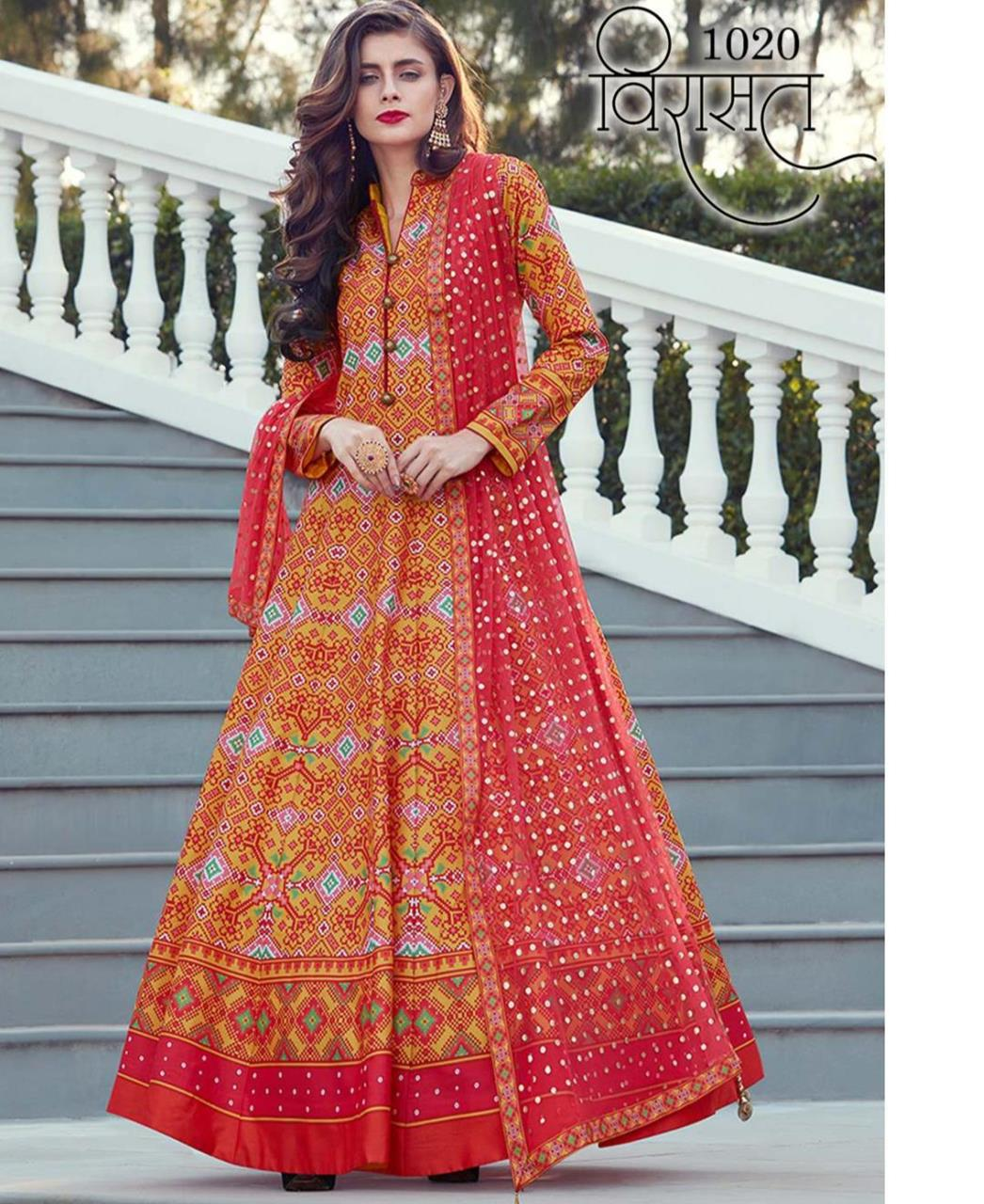 Printed Silk Orange Abaya Salwar