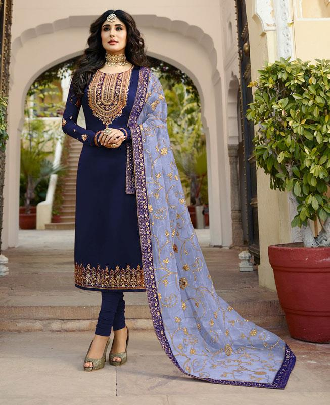 Embroidered Georgette Straight cut Salwar Kameez in Nevy Blue