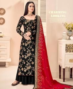 HandWorked Silk Straight cut Salwar Kameez in Black