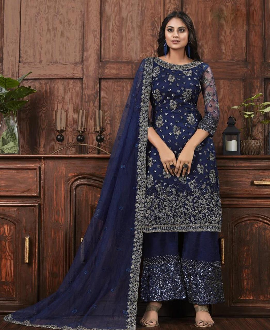 Thread Satin Abaya Style Salwar in Blue