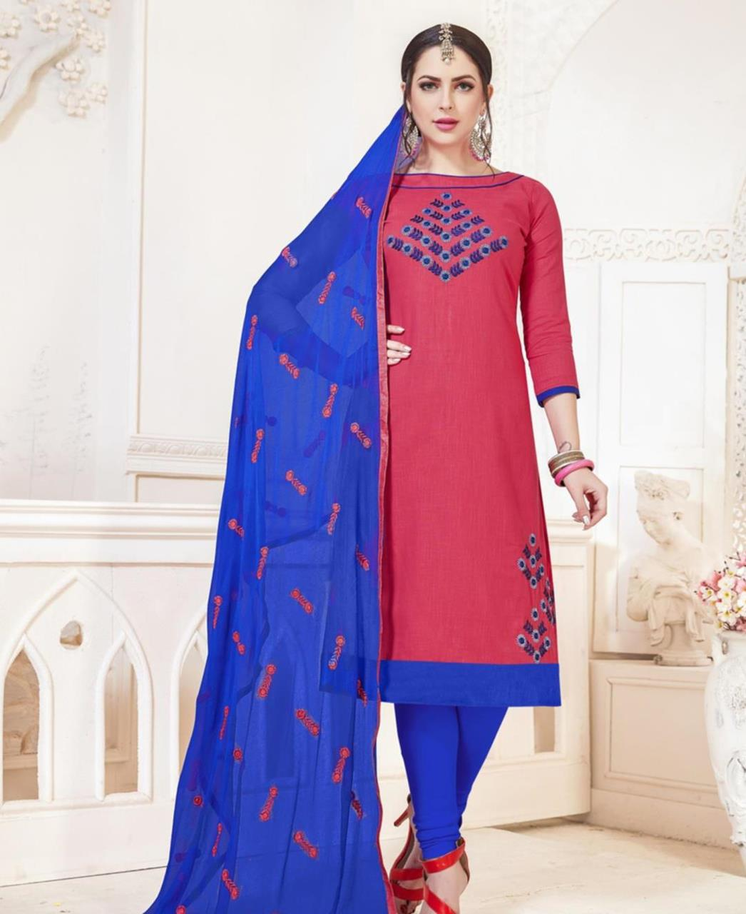 Embroidered Cotton Pink Straight Cut Salwar