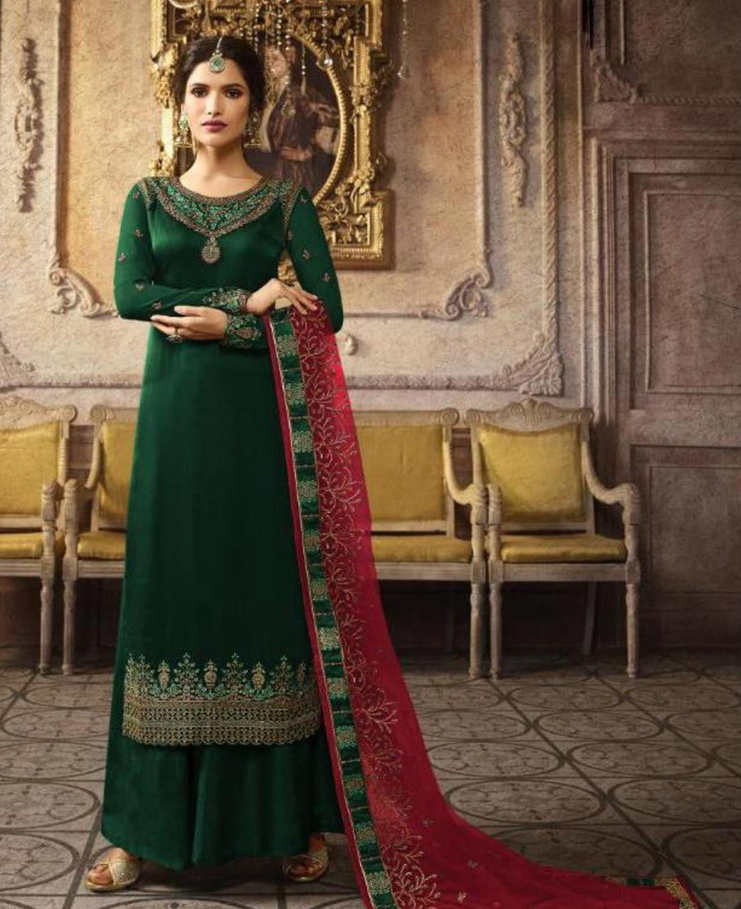 Embroidered Silk Straight cut Salwar Kameez in Green