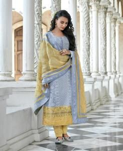 Cotton Straight cut Salwar Kameez in Sky Blue