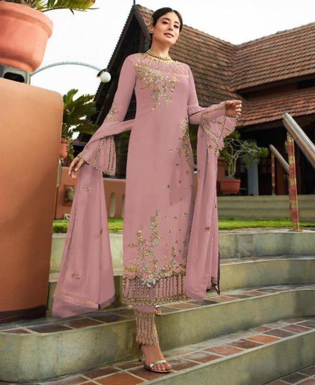 Georgette Straight cut Salwar Kameez in Light Pink