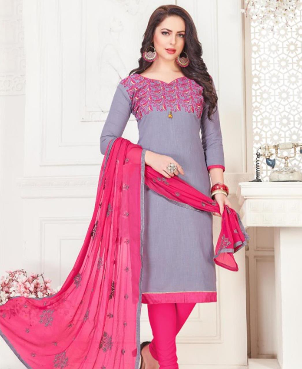 Embroidered Cotton Gray Straight Cut Salwar Kameez
