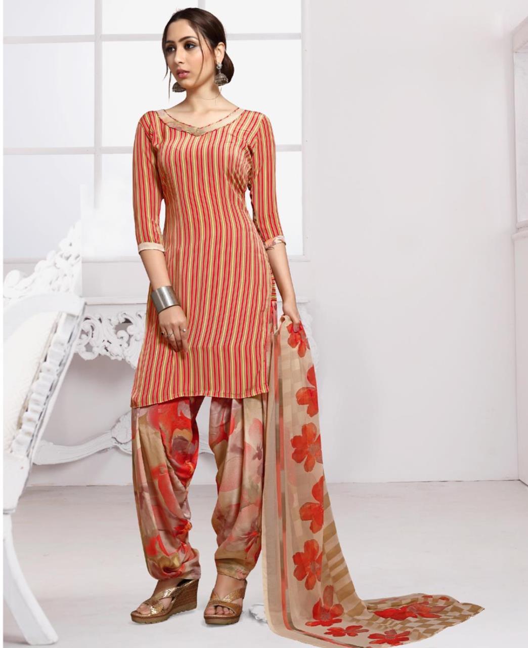 Floral Print Crepe Red Patiyala Suit Salwar