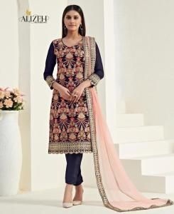 Thread Georgette Straight cut Salwar Kameez in Dark Blue