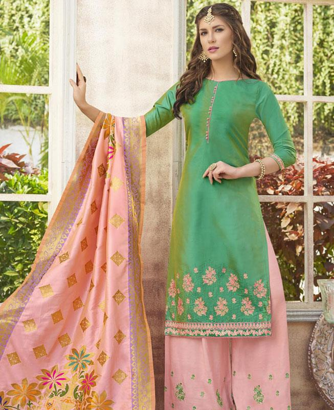 Embroidered Cotton Green Palazzo Suit Salwar