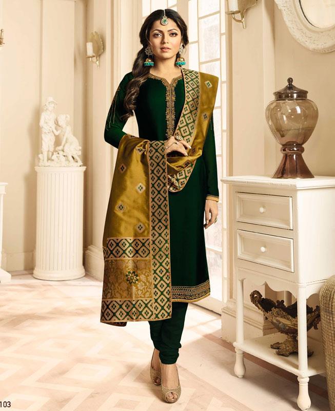 Embroidered Georgette Green Straight cut Salwar