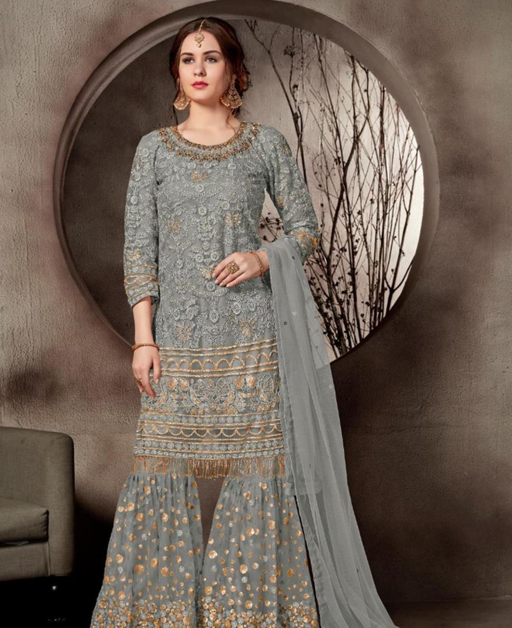 Lace Net Gray Palazzo Suit Salwar