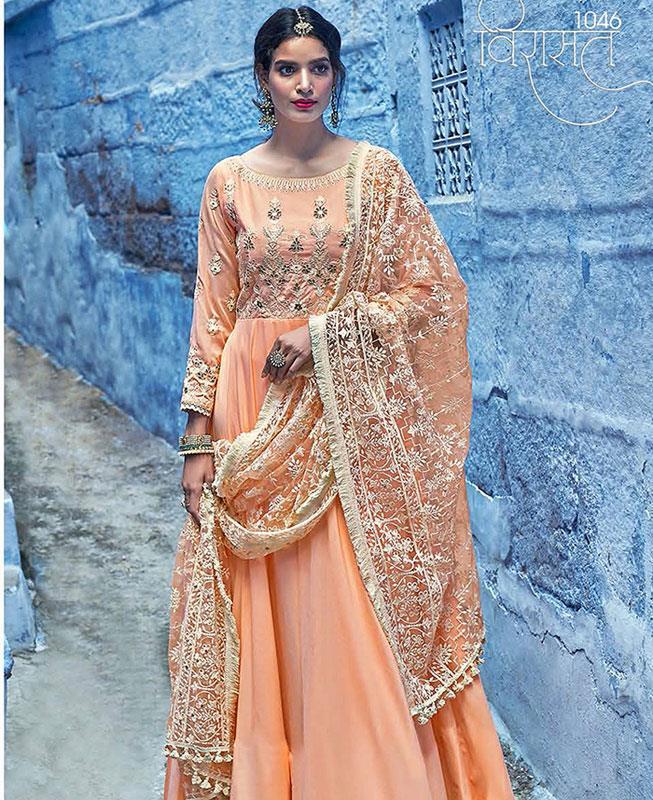 Embroidered Satin Orange Abaya Style Salwar