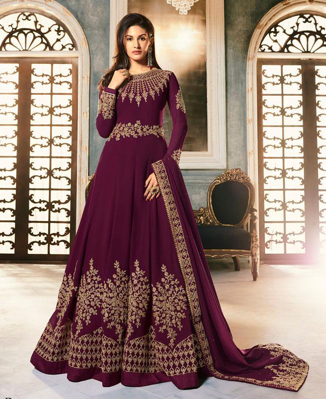 Embroidered Faux Georgette Purple Abaya Salwar