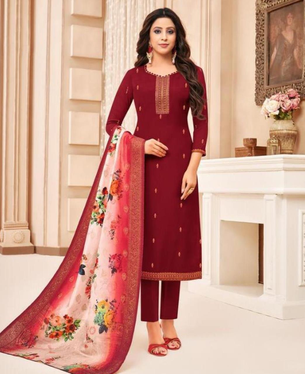 Embroidered Silk Maroon Straight Cut Salwar