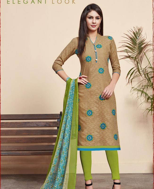 Embroidered Cotton Straight cut Salwar Kameez in Beige