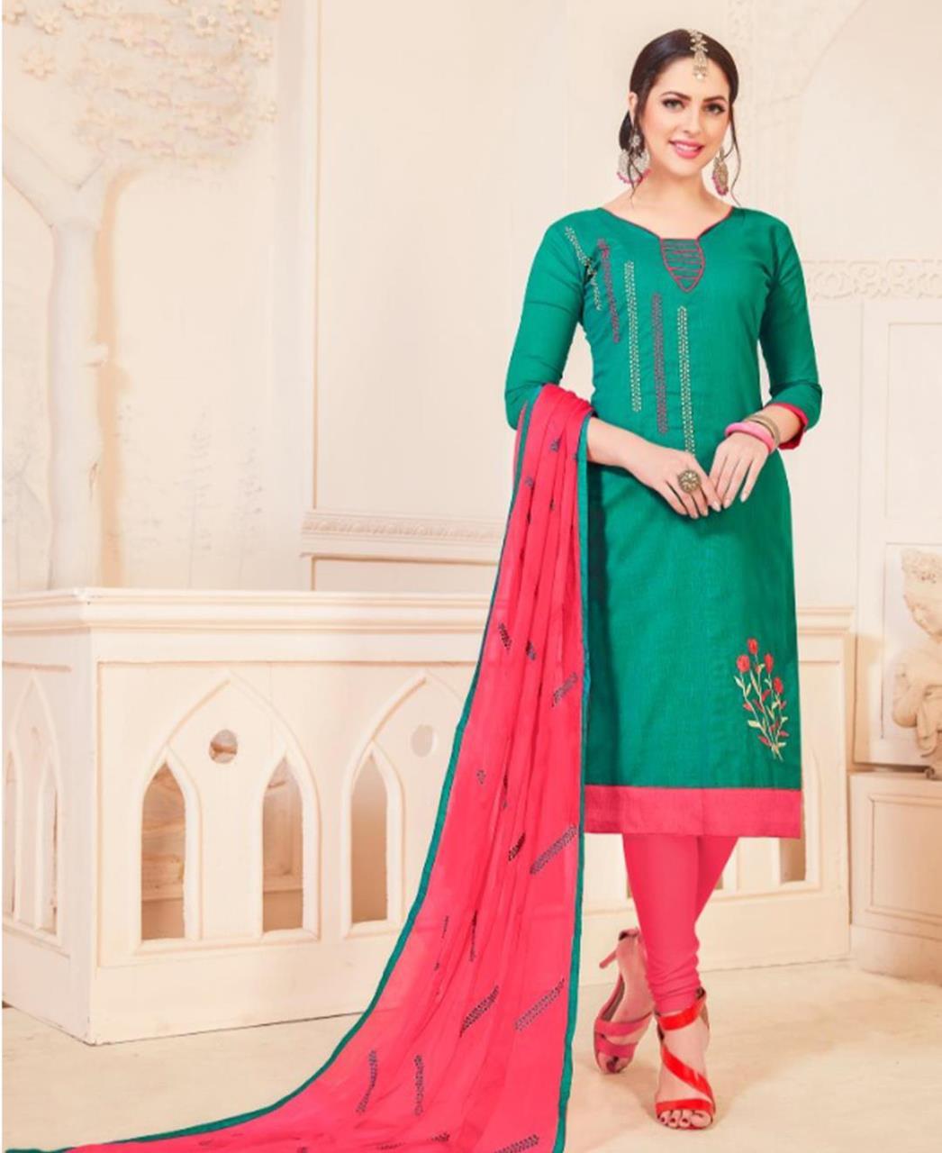 Embroidered Cotton Green Straight Cut Salwar Kameez