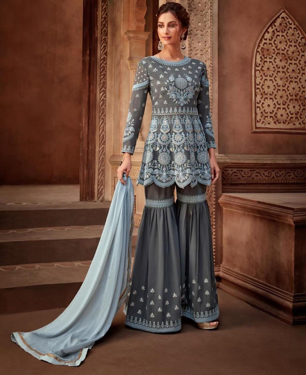 Cord Work Georgette Gray Palazzo Suit Salwar