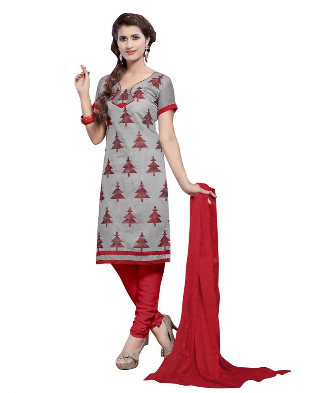 Cotton Straight cut Salwar Kameez in Grey