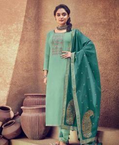 Thread Cotton Straight cut Salwar Kameez in Turquoise