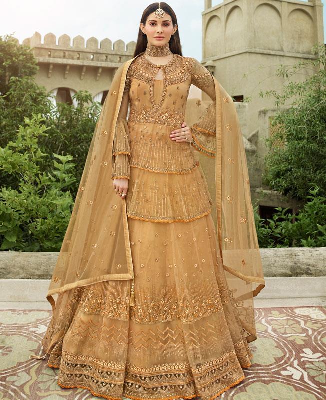 Thread Net Abaya Style Salwar in Gold