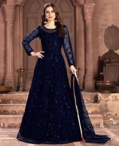 Net Abaya Style Salwar in Blue