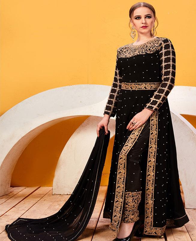 Embroidered Georgette Black Abaya Style Salwar