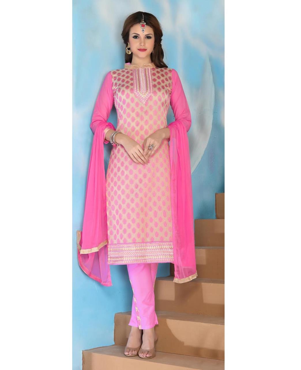 Embroidered Cotton LIGHTPINK Straight Cut Salwar Kameez
