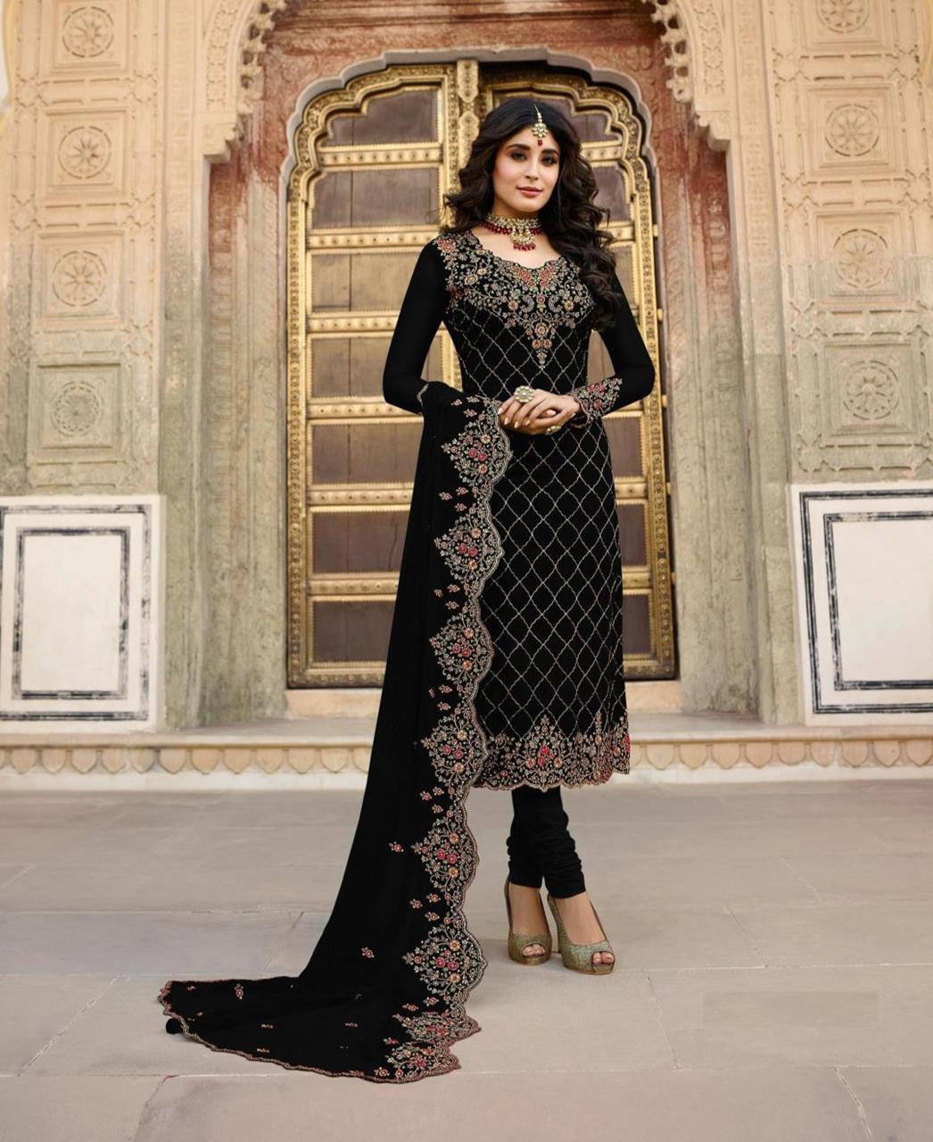 Georgette Straight cut Salwar Kameez in Black