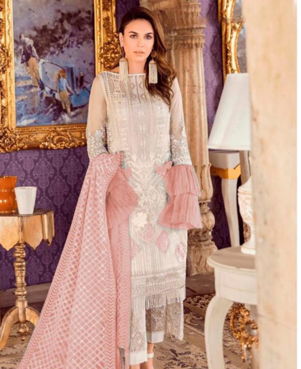 Thread Net Straight cut Salwar Kameez in Off White