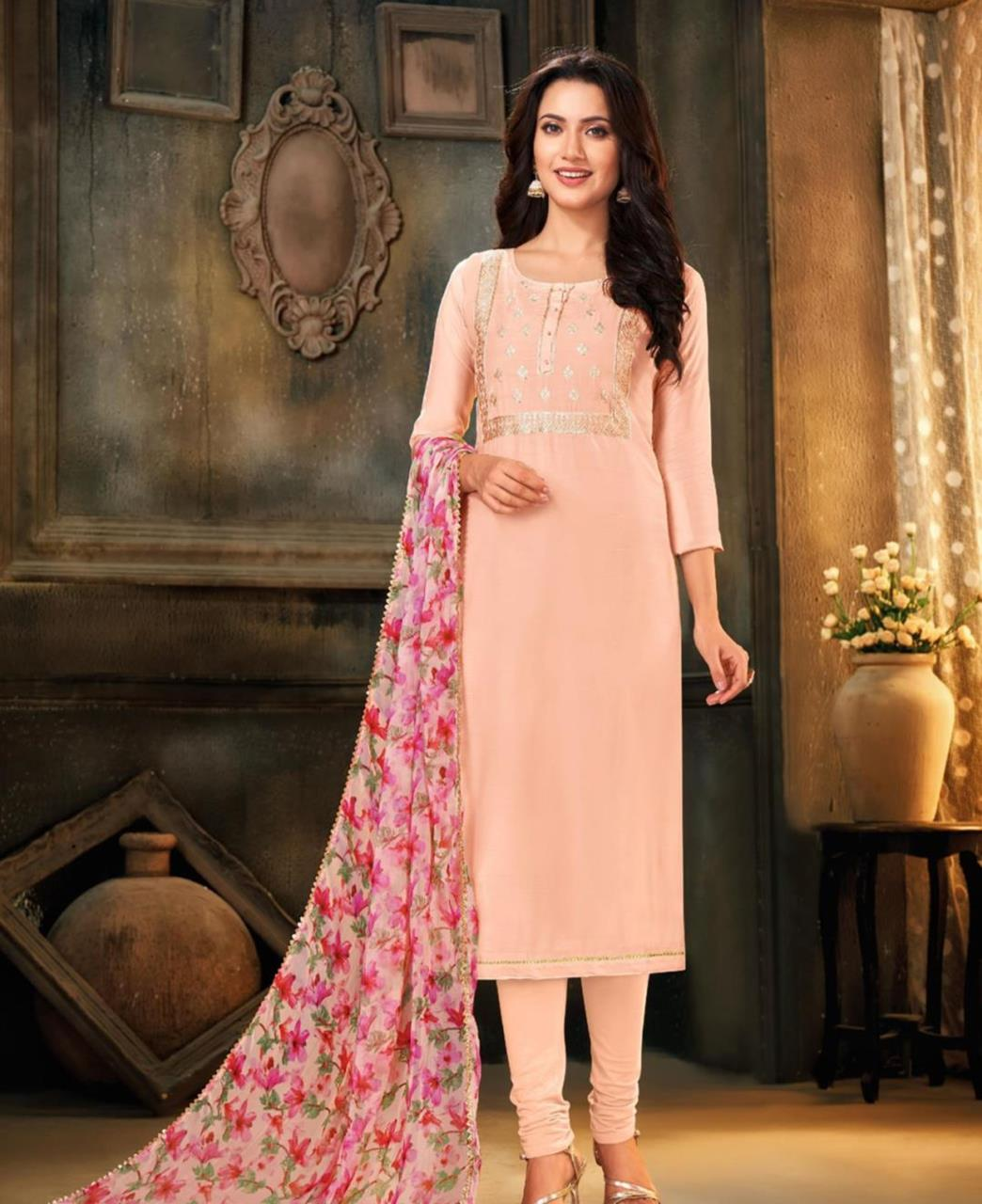 HandWorked Cotton Straight cut Salwar Kameez in Peach