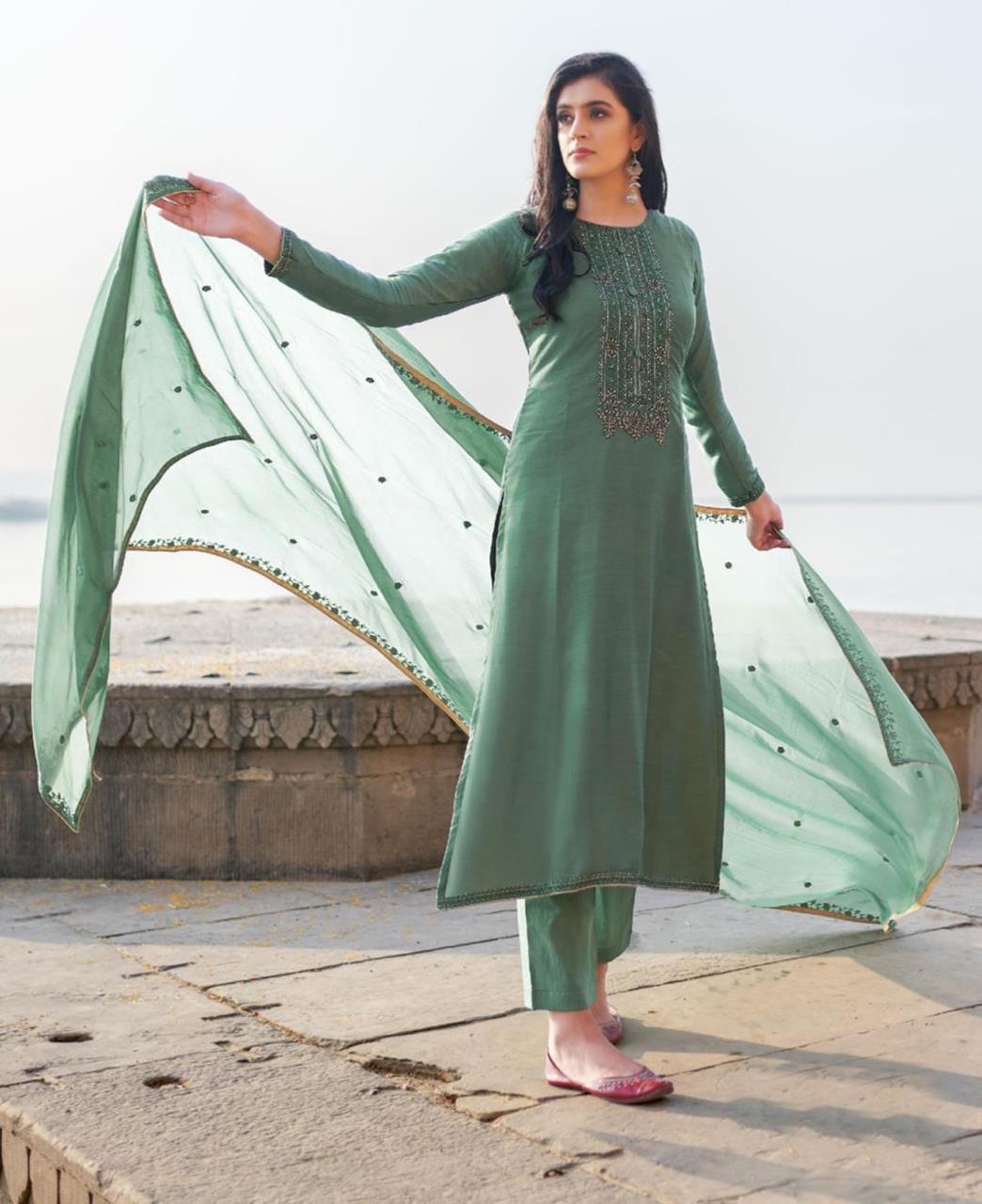 HandWorked Cotton Straight cut Salwar Kameez in Sea Green