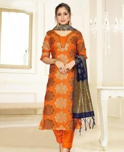 Embroidered Cotton Straight cut Salwar Kameez in Orange