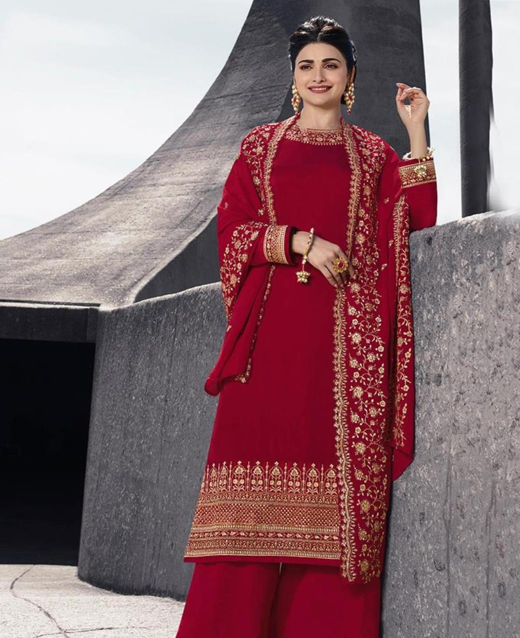 Resham Georgette Straight cut Salwar Kameez in Red