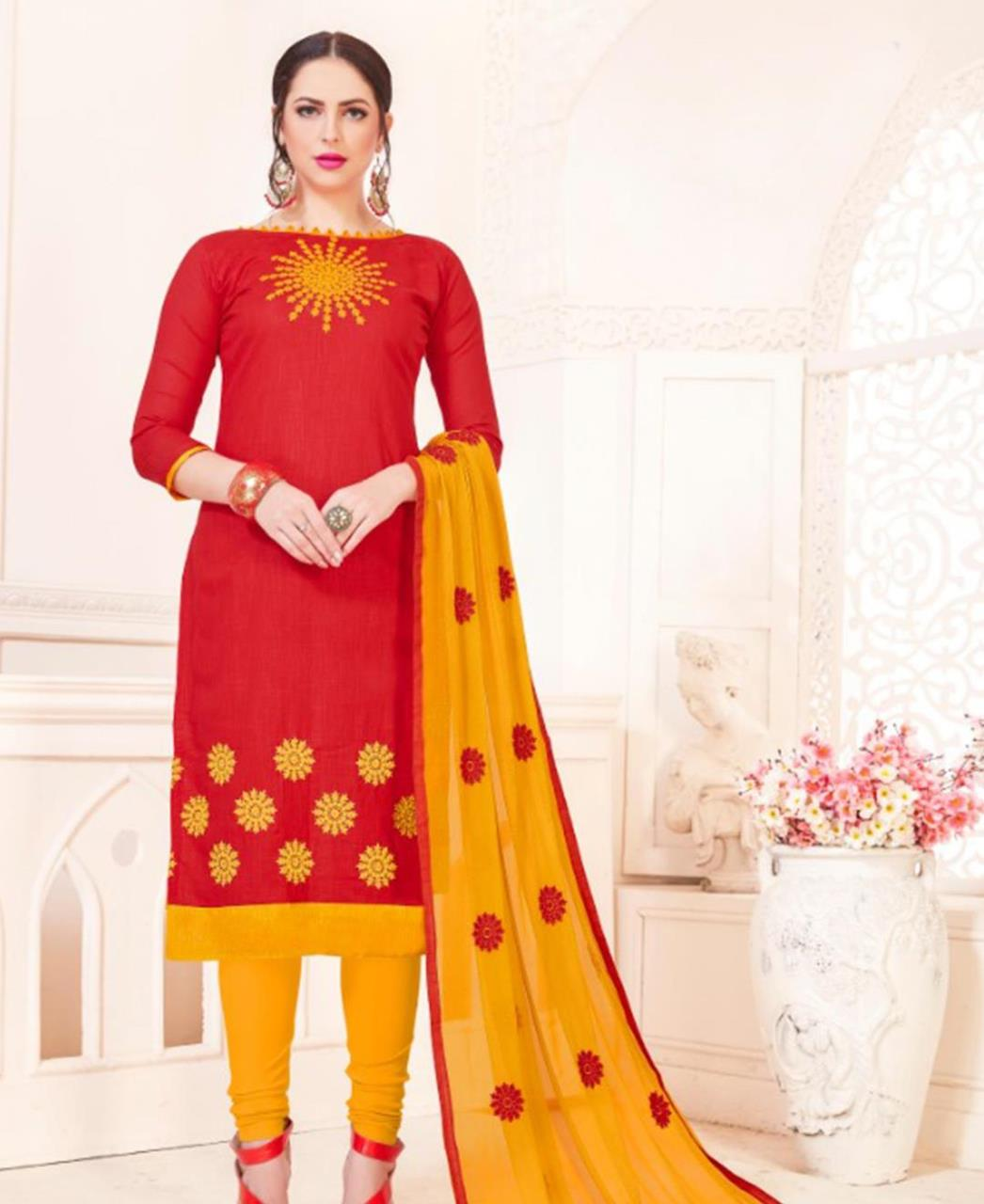 Embroidered Cotton Red Straight Cut Salwar Kameez