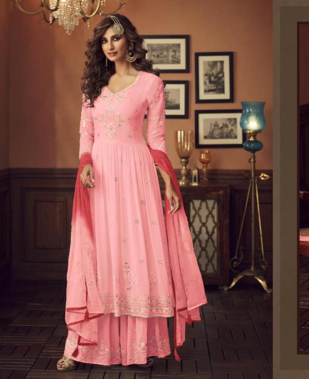 HandWorked Georgette Abaya Style Salwar in Light Pink