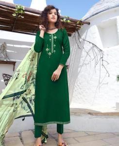 Cotton Straight cut Salwar Kameez in Dark Green