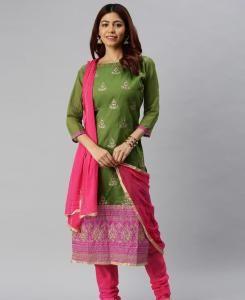 HandWorked Cotton Straight cut Salwar Kameez in Green