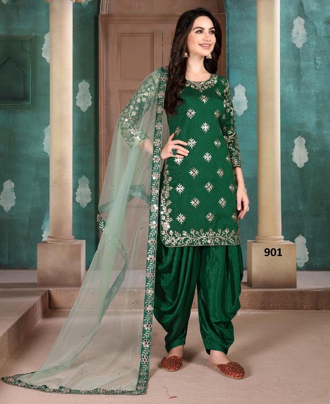 Silk Patiyala Suit Salwar in Green