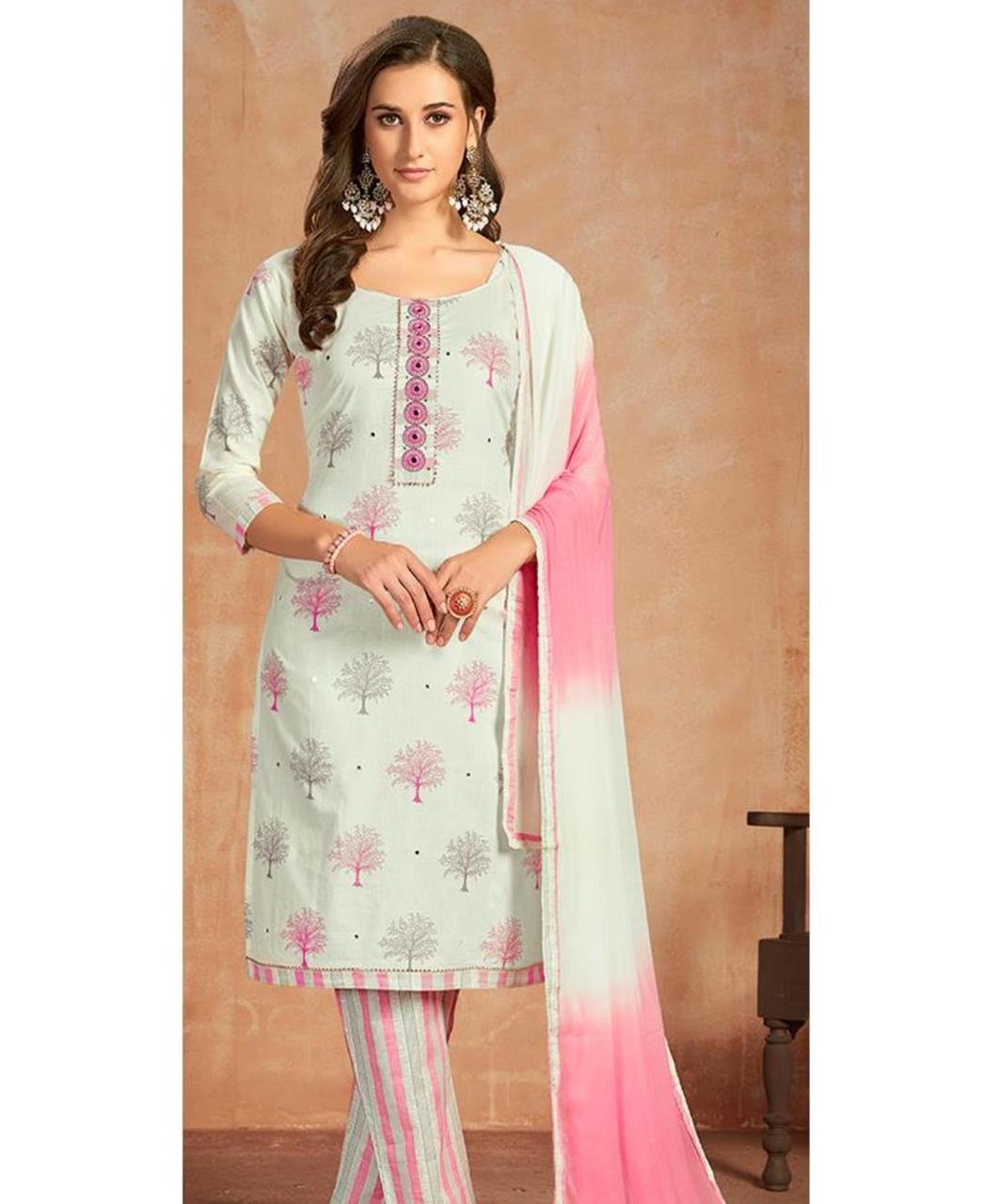 Printed Cotton Straight cut Salwar Kameez in Off White