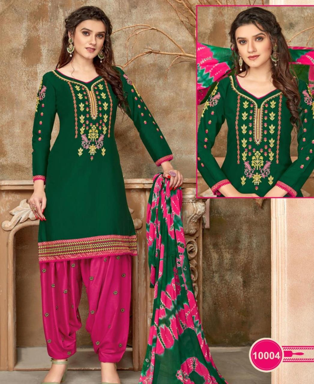 Embroidered Cotton Patiyala Suit Salwar in Green